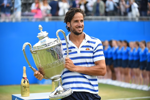 Feliciano Lopez of Spain celebrates with the winners trophy following victory in the mens singles final against Marin Cilic of Croatia during day seven of the 2017 Aegon Championships at Queens Club on June 25, 2017 in London, England. (Photo by Alberto Pezzali/NurPhoto via Getty Images)