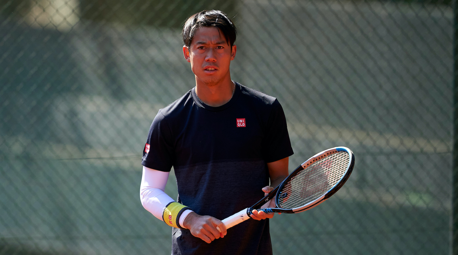 BARCELONA, SPAIN - APRIL 17: Kei Nishikori of Japan ATP Barcelona Open Banc Sabadell at the Real Club de Tenis Barcelona on April 17, 2021 in Barcelona, Spain. (Photo by Manuel Queimadelos/Quality Sport Images)