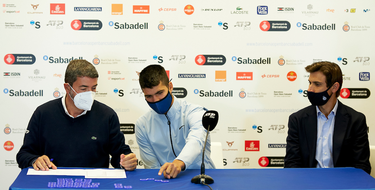 BARCELONA, SPAIN - APRIL 17: Carlos Alcaraz of Spain and David Ferrer of Spain ATP Barcelona Open Banc Sabadell at the Real Club de Tenis Barcelona on April 17, 2021 in Barcelona, Spain. (Photo by Manuel Queimadelos/Quality Sport Images)
