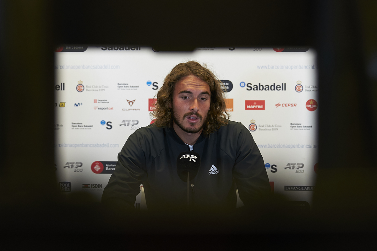 BARCELONA, SPAIN - APRIL 20: Stefanos Tsitsipas of Greece. ATP Barcelona Open Banc Sabadell at the Real Club de Tenis Barcelona on April 20, 2021 in Barcelona, Spain. (Photo by Manuel Queimadelos/Quality Sport Images)